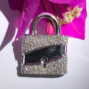 Jewelry - 14K White Gold Diamond PadLock 🔒